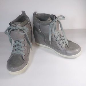 Torrid Gray Studded Wedge Sneakers 11W